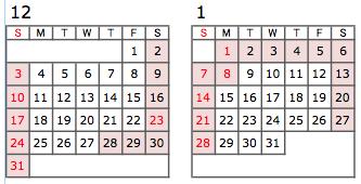 カレンダー2017年12月