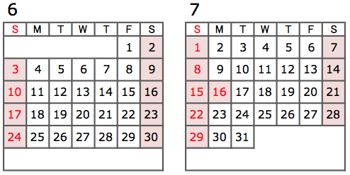 カレンダー2018年6月7月